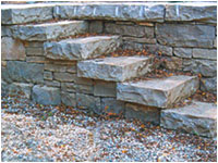 drylaid steps in retaining wall