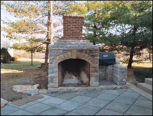 Patio Fireplace With Gas Grill